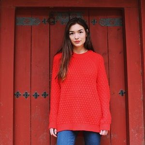 H&M Bright Red Oversized Knit Sweater